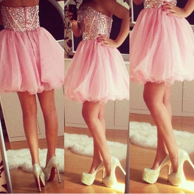 Pink Homecoming Dress Beading Prom Dress Sweatheart Neck Prom Dress Strapless Prom Dress H003