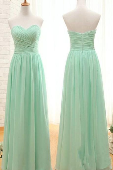 Simple long bridesmaids dress, strapless prom dress,sweatheart neck dress, dress for bridesmaids L638