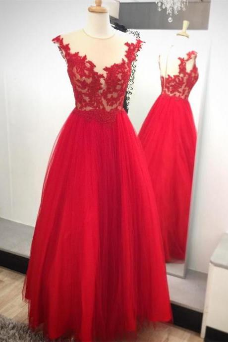 Red lace appliques prom dress, a-line princess prom dress,sleeveless long prom dress, high quality hand made prom dress, elegant wowen dress,party dress, dress for teens L965