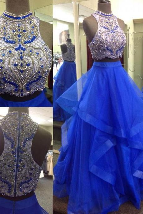 Two-pieces long prom dress, beautiful beading prom dress, high quality handmade prom dress, sexy long prom dress, elegant wowen dress, party dress, dress for teens L967