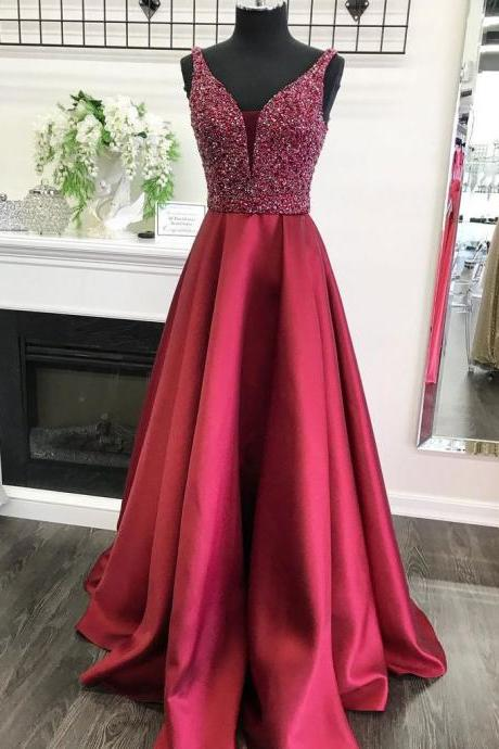 Red long prom dress, a-line princess prom dress,beautiful beading prom dress,high quality hand made prom dress, elegant wowen dress,party dress, dress for teens L970