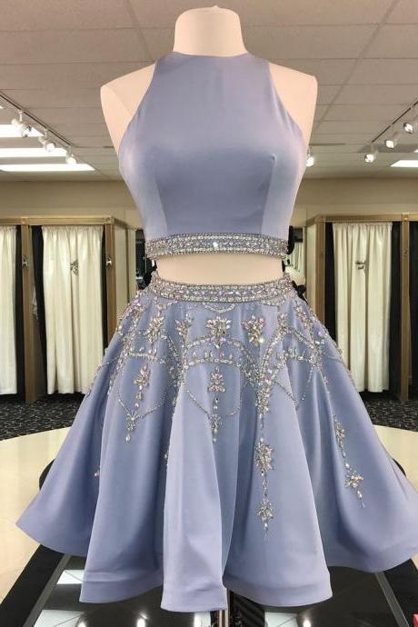 Two-pieces short prom dress, beautiful beading prom dress, high quality hand made prom dress, sexy prom dress, elegant wowen dress, party dress, dress for teens L973
