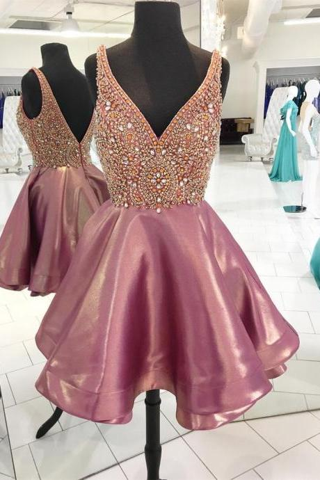Sexy deep-v neck short homecoming prom dress,beautiful beading prom dress,high quality hand made prom dress,elegant wowen dress, party dress, dress for teens L977