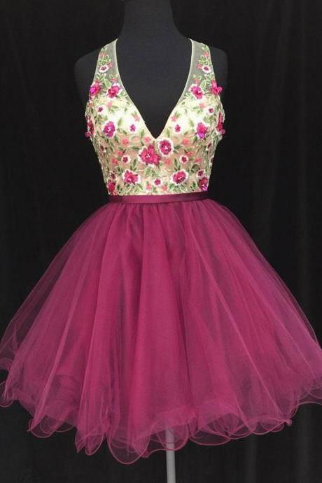 Deep V- neck short homecoming prom dress, flowers short prom dress, elegant wowen dress,party dress, dress for teens L978