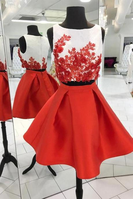 Two-pieces short homecoming prom dress, beautiful lace appliques prom dress, high quality handmade prom dress, elegant wowen dress, party dress, dress for teens L979