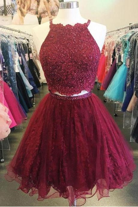 Red short prom dress,sexy two pieces homecoing prom dress,beautiful beading prom dress, high quality hand made short dress, elegant wowen dress,party dress, dress for teens L985