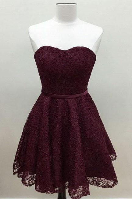 Sweatheart neck short homecoming prom dress, beautiful lace prom dress, strapless prom dress,high quality handmade prom dress, elegant wowen dress, party dress, dress for teens L986