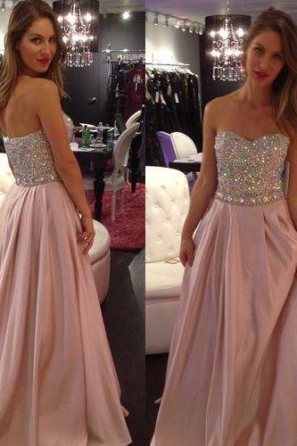 Pink A--Line Prom Dress ,Elegant Women dress,Party dress ,Long Evening Prom Dress ,beading prom dress L327