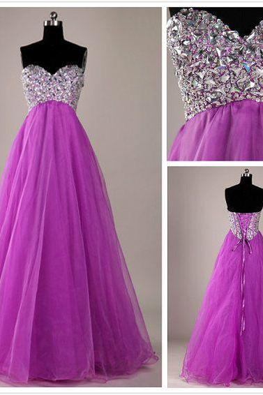 Sweatheart neck prom dress,strapless prom dress,beading prom dress,long prom dress,tulle prom dress L328