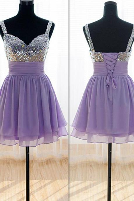 Spaghetti straps prom dress,homcoming prom dress,short prom dress ,chiffion prom dress,beading prom dress L330