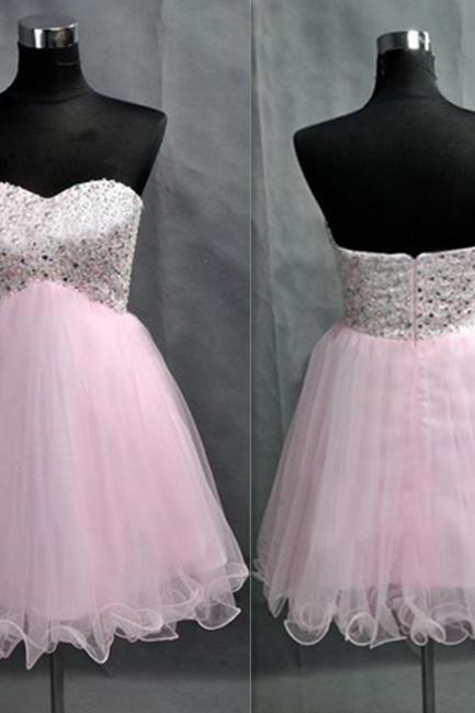 Sweatheart neck prom dress,strapless prom dress,homecoming dress ,short prom dress,beading prom dress L331