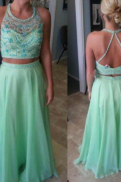 Two Pieces Prom Dress,high quality prom dress,beautiful beading prom dress,chiffion prom dress,Elegant Women dress,Party dress L453