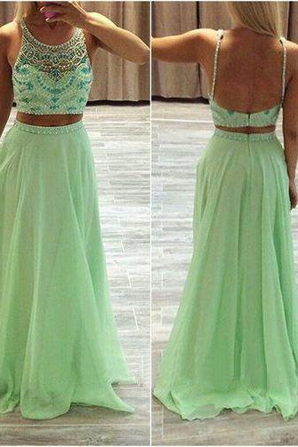 High quality two Pieces Prom Dress ,long prom dress,chiffion dress,round neck prom dress,beautiful beading prom dress,evening dress,Elegant Women dress,Party dress L457