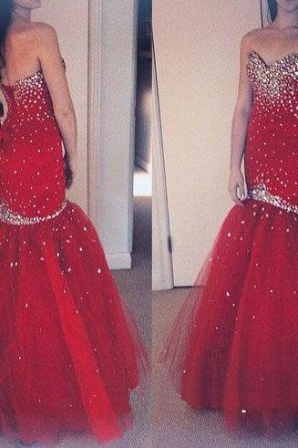 Sweatheart neck prom dress,mermeid prom dress,beautiful beading prom dress,red prom dress,strapless dress,elegant wowen dress,party dress,evening dress L489