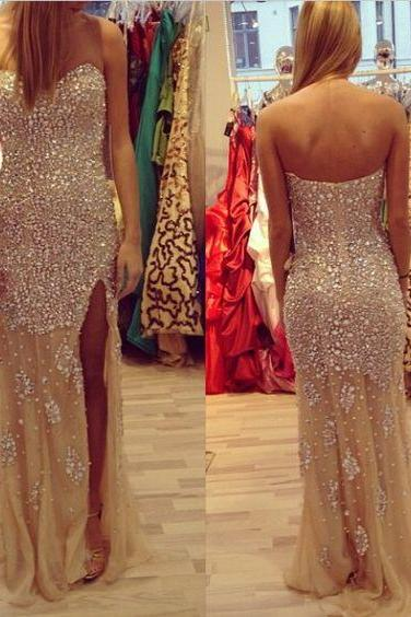 Sweatheart neck prom dress,strapless prom dress,beading prom dress,long prom dress,high quality prom dress,beautiful beading Evening Dress,chiffion prom dress,Elegant Women dress,Party dress L504