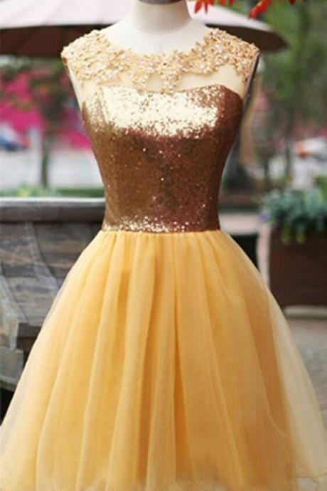 Golden prom dress,homecoming prom dress,short prom dress,high quality custom prom dress,lace and tulle prom dress,elegant wowen dress,party dress,evening dress,dress for teens L667