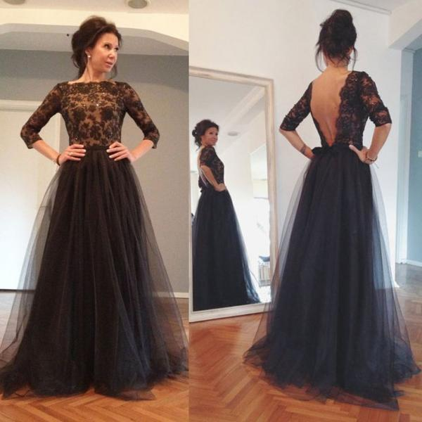 Lace Sleeves Prom Dress,long Prom Dress,Round Neck Long Prom Dresses ...